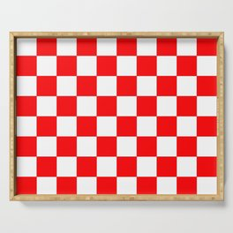 Damier 1 red and white Serving Tray