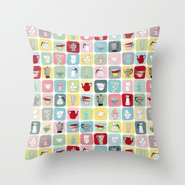 Retro Coffee Pots and Cups Pattern Throw Pillow