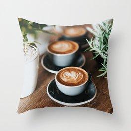 Latte + Plants Throw Pillow