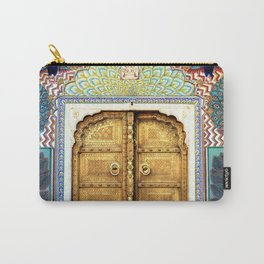 India Palace Ornate Gold Doorway with Peacocks Photograph Carry-All Pouch