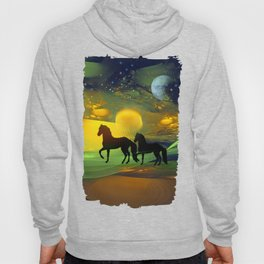Awakening, Mysterious mixed media art with horses Hoody