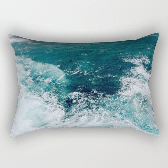Ocean Waves (Teal) Rectangular Pillow