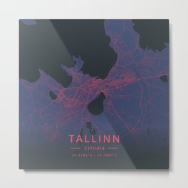 Tallinn, Estonia - Neon Metal Print