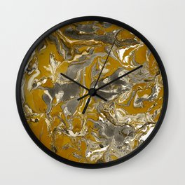 Brown and grey Marble texture acrylic Liquid paint art Wall Clock