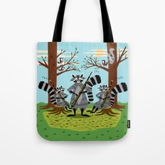 Raccoons Playing Bassoons Tote Bag
