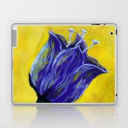 Purple tulip on yellow, acrylic painting Laptop & iPad Skin