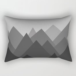 Black and White Abstract Mountains Rectangular Pillow