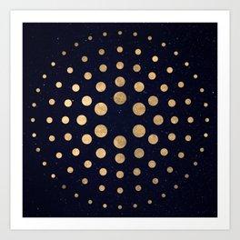 Spiral Night Sky Gold Foil Art Print