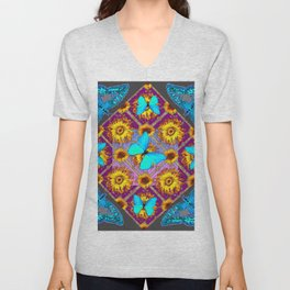 WESTERN STYLE TURQUOISE BUTTERFLIES FLORAL ART Unisex V-Neck