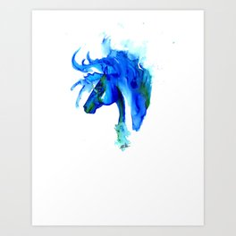 Blue Horse in ink Art Print