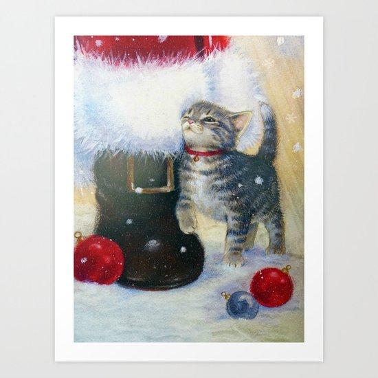Kitten at Santa's Boot Art Print