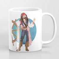 jack sparrow Mugs featuring Captain Jack Sparrow by Lili's Damn Fine Shop