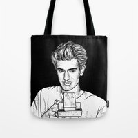 garfield Tote Bags featuring Andrew Garfield by Sharin Yofitasari