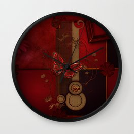 Beautiful butterflies with floral elements Wall Clock