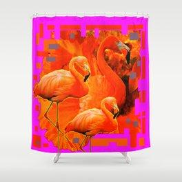 TROPICAL  FUCHSIA ART DECO FLAMINGOS  ART Shower Curtain