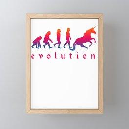 Horse Magical Creature Magic Fantasy Rainbow Unicorn Evolution Gift Framed Mini Art Print