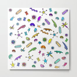 Mini Bugs and Mini Beasts Cute Fun Cool Pattern Metal Print