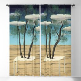 The Oasis, 1925 surreal oasis in the desert landscape painting by Rene Magritte Blackout Curtain