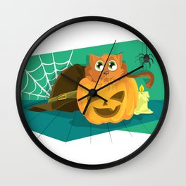 Cat in Fear on Pumpkin Halloween Design Wall Clock