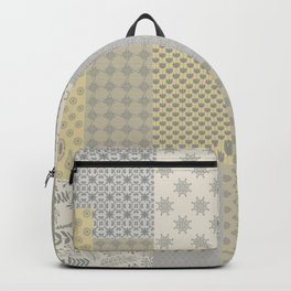 Modern Farmhouse Patchwork Quilt in Gray Marigold and Oatmeal Backpack