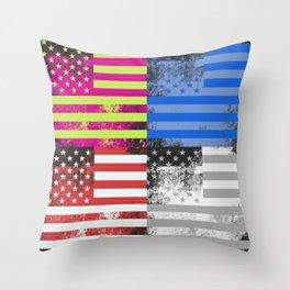 American Flag Pop Art Throw Pillow