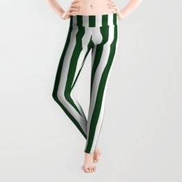 Original Forest Green and White Rustic Vertical Tent Stripes Leggings