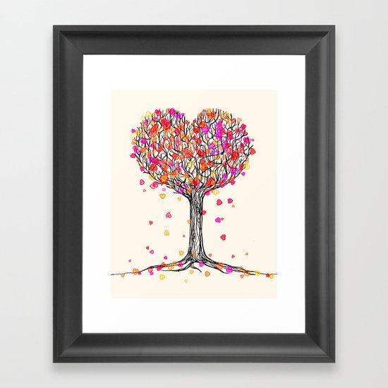 Love in the Fall - Heart Tree Illustration Framed Art Print