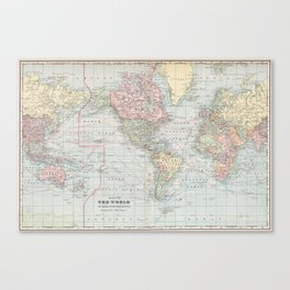 Vintage World Map (1901) Canvas Print