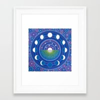 moon phase Framed Art Prints featuring Moon Phase Mandala by Elspeth McLean