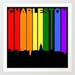 Charleston South Carolina Gay Pride Skyline Art Print