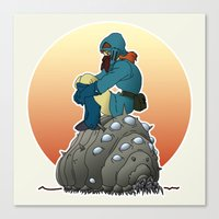 nausicaa Canvas Prints featuring Nausicaa & baby Ohmu taking a break... by kamonkey