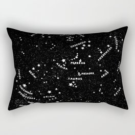 Star Map Black and White - Let's Go See The Stars Rectangular Pillow