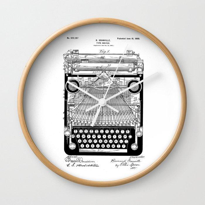 patent art Granville Type Writer 1900 Wall Clock