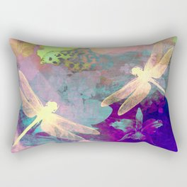 Painting Dragonflies and Orchids A Rectangular Pillow