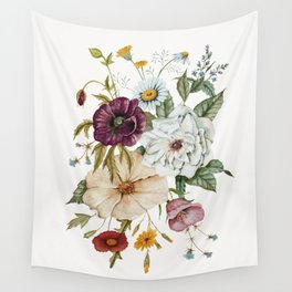Colorful Wildflower Bouquet on White Wall Tapestry