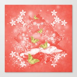 Gold butterflies in magical mushroom landscape Canvas Print