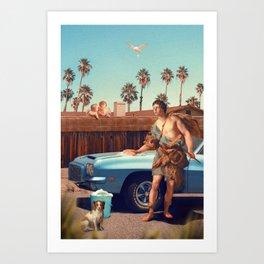 ADONIS WASHING HIS CAR Art Print