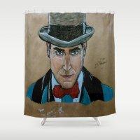 arnold Shower Curtains featuring Arnold Rothstein (Boardwalk Empire) by Bina Leo Dwyer