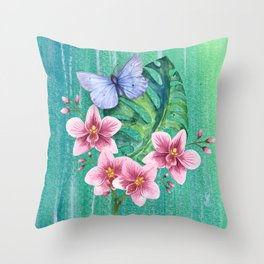Butterfly with Orchids and Monstera Throw Pillow