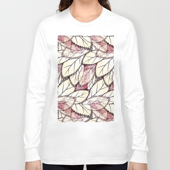 Delicate openwork leaves on a white , light brown background. Long Sleeve T-shirt
