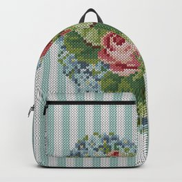 Knitted vintage roses heart in tapestry syle Backpack