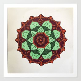 Mandala design in Maroon, coral, green and mint green Art Print