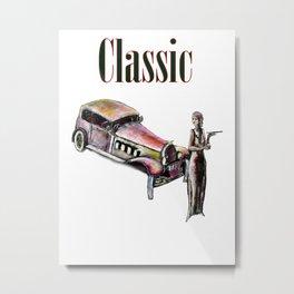 Classic car and art deco girl Metal Print