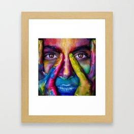 Colorful Face Paint Portrait Framed Art Print