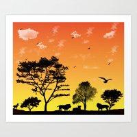 safari Art Prints featuring Safari by Kaitlynn Marie