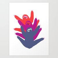 sloths Art Prints featuring Color sloths by Darish