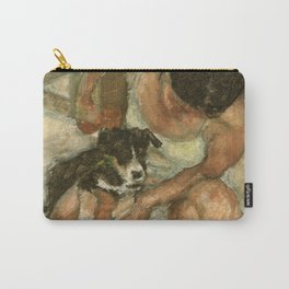 Girl Playing with Puppy Dog Impressionist Oil Painting Carry-All Pouch
