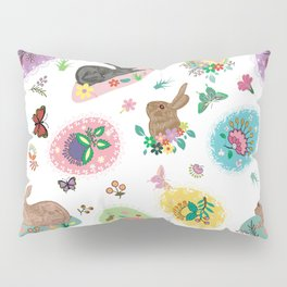 Easter Eggs Bunnies Flowers and Butterflies with Lace Borders Pillow Sham