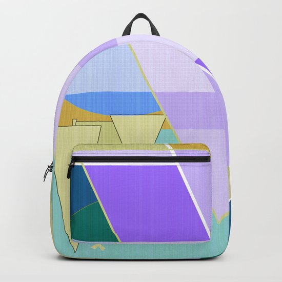 Abstraction in purple and blue colors .  Backpack