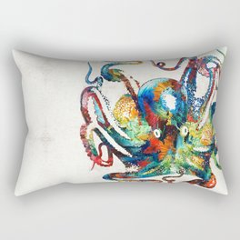 Colorful Octopus Art by Sharon Cummings Rectangular Pillow